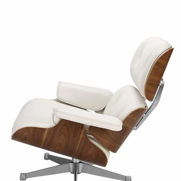 Nicer Furniture Eames Lounge Chair and Ottoman Black 100/% Italian Genuine Full Grain Leather with Walnut Wood Finish Eames Lounger Everyone Loves